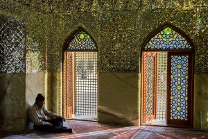 TAM_0185: Iran - Believer in a mosque at Shiraz