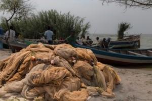 TA_0302: Tanzania - Fishing nets at Victoria Lake