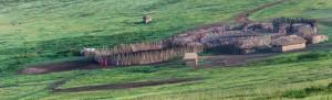 TA panorama: Tanzania - Masai village in Serengeti N. P.